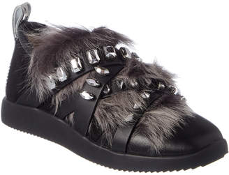 Giuseppe Zanotti Fur Trim & Crystal Embellished Leather Sneaker