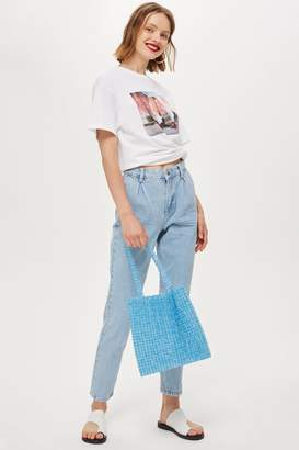 Topshop MOTO Bleach Pleated Mom Jeans