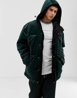 Asos DESIGN parka jacket in velour