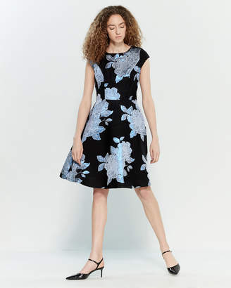 Yumi Floral Brocade Fit & Flare Dress