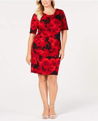 Connected Plus Size Cowl-Neck Floral Dress