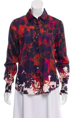 Velvet Printed Button-Up Top