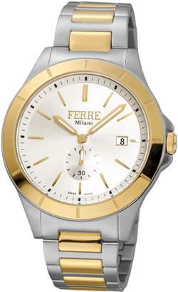 Ferré Milano Men's 43mm Stainless Steel Date Sub-Seconds Diver Watch with Bracelet, Steel/Golden