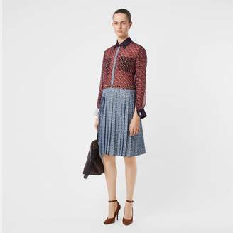 Burberry Monogram Print Silk Chiffon Pleated Shirt Dress