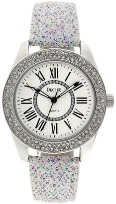 Decree Womens Crystal-Accent Glitter White Strap Watch