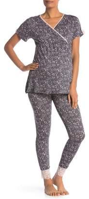 7fa1309a090a2 Lamaze Intimates Maternity\u002FNursing Lace Trim 2-Piece Pajama Set ( Maternity)