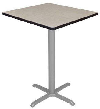 "Regency Via Cafe High 30"" Square X-Base Table- Maple/Grey"