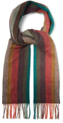 Paul Smith Artist Stripe Fringed Cashmere Scarf - Mens - Multi