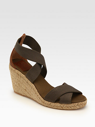 Tory Burch Adonis Canvas Espadrille Wedges