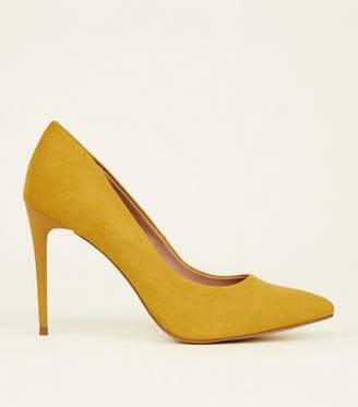 New Look Yellow Comfort Suedette Pointed Court Shoes