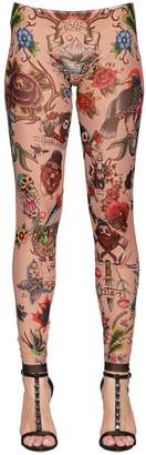 DSQUARED2 Tattoo Printed Stretch Tulle Leggings