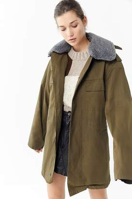 Urban Renewal Vintage Faux Fur Collar Hooded Military Jacket