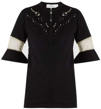 Toga Embellished Yoke Fluted Cuff Top - Womens - Black