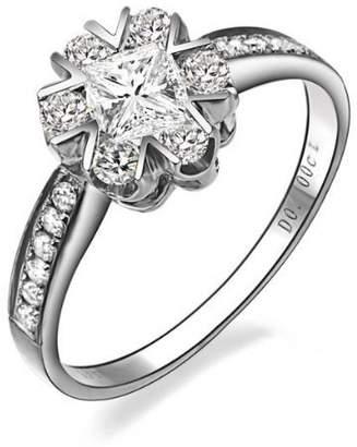FineTresor 1.00 Carat Princess Cut Diamond Multistone Ring on 14K White Gold