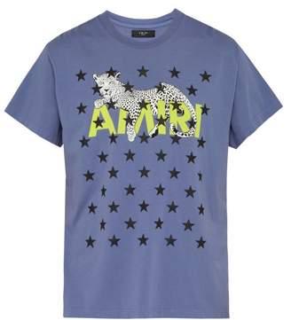 Amiri Star And Leopard Print Cotton T Shirt - Mens - Purple