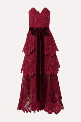 Oscar de la Renta Belted Tiered Velvet-trimmed Guipure Lace Bustier Gown - Claret