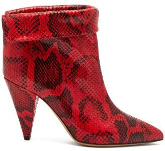 Isabel Marant Lisbo Python Effect Leather Ankle Boots - Womens - Red Multi