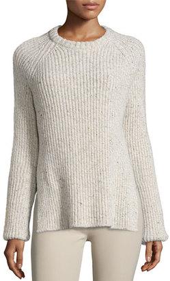 Joseph Ribbed Melange Wool-Blend Sweater, Ecru $395 thestylecure.com