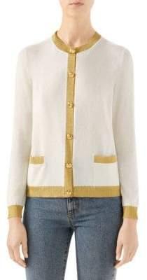 Gucci Women's Metallic Trim Cashmere& Silk Cardigan - Ivory - Size XL