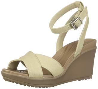 Crocs Women's Leigh II Cross Strap Ankle Wedge Sandal