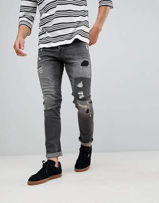 ONLY & SONS Slim Fit Jeans With Rip Repair And Patch Details