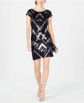 Vince Camuto Sequin Cap-Sleeve Sheath Dress