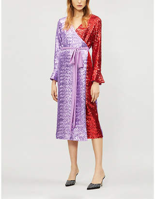 KITRI Alyssa two-tone sequin-embellished wrap dress
