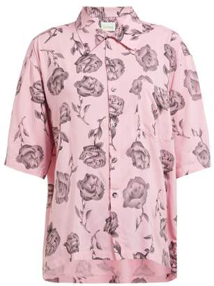 Aries Rose Print Bowling Shirt - Womens - Pink Multi