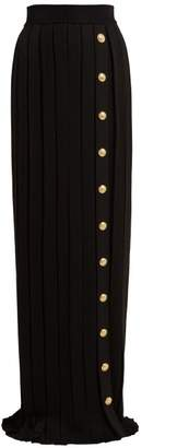Balmain Pleated Maxi Skirt - Womens - Black