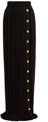 Balmain Pleated Maxi Skirt - Womens - Black