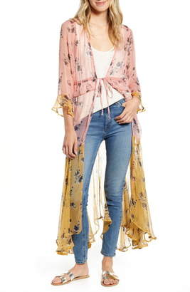 New Friends Colony Felicia Floral Colorblock Sheer Duster