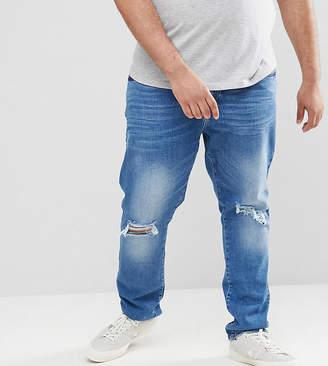 Jacamo Skinny Fit Jeans in Rip & Repair In Navy