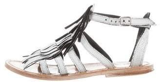 K Jacques St Tropez Leather Kiltie Sandals