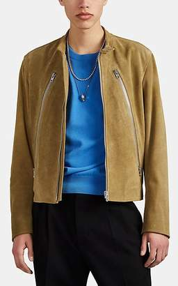 Maison Margiela Men's Zip-Detailed Suede Jacket - Olive