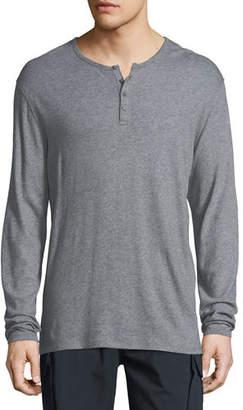 Vince Raw-Edged Long-Sleeve Henley Shirt
