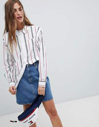 Tommy Jeans Stipe Shirt With Slouch Collar
