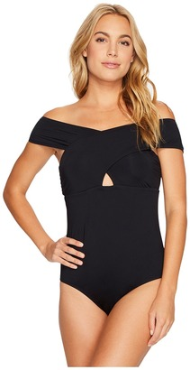 Jantzen - Solids Cold Shoulder One-Piece Women's Swimsuits One Piece $116 thestylecure.com
