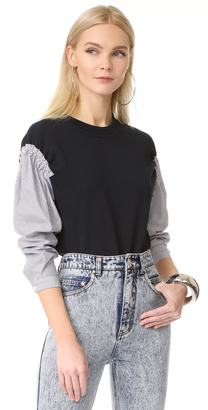 3.1 Phillip Lim French Terry Combo Top $325 thestylecure.com