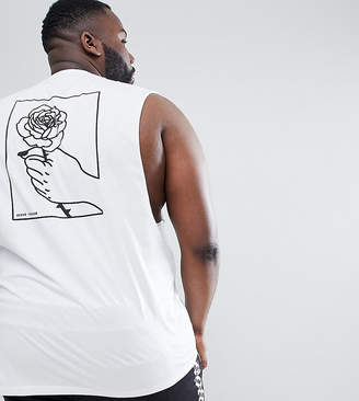 Asos DESIGN Plus sleeveless t-shirt with dropped armhole & hand back print