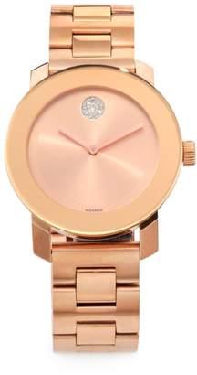 Movado Bold Rose Goldtone IP Stainless Steel Bracelet Watch
