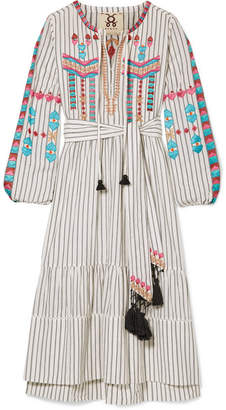 Figue Noor Tassled Embroidered Cotton-voile Dress - Ivory