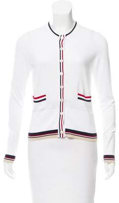 Black Fleece Stripe-Trimmed Button-Up Cardigan
