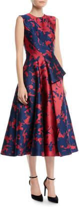 Jason Wu Sleeveless Draped-Front Floral-Jacquard Tea-Length Cocktail Dress