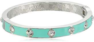 T Tahari Essentials Crystal Studded Hinged Enamel Bangle Bracelet