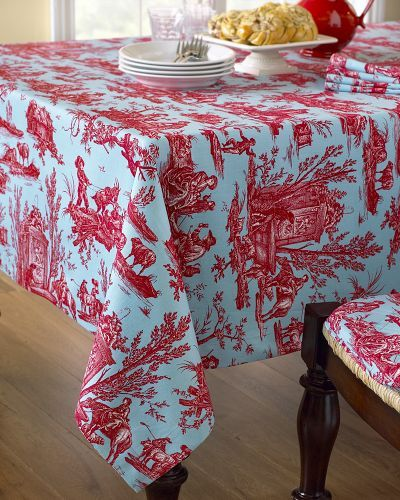 Orleans Toile Tablecloths, Blue