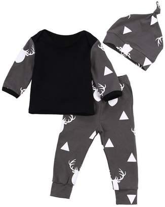 Baby Clothes,Doinshop Infant Girl Boy Winter Warm Top Pants Hat 3pcs Outfits Set (9-12M, )