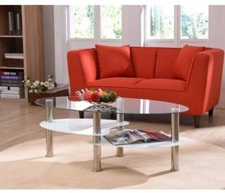Hodedah Oval Glass 3-Tier Coffee Table, Multiple Colors