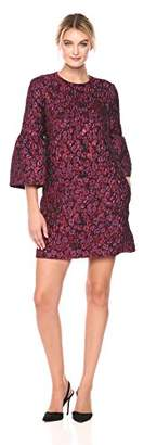 Nicole Miller Women's Falling Roses Jacquard L/s Dress