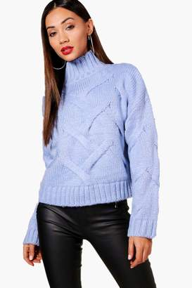boohoo Petite Premium Sophie Soft Knit Cable Jumper