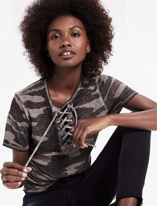 Lucky Brand Camo Lace Up Tee